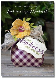 Curvy Keepsake box - Kindness Projects Pansy punch flower on clothespin, Farmer's Market dsp, Stampin Up!