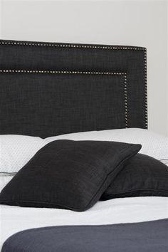 Images of BedNest Upholstered Bedheads, Headboards, Bespoke Bedheads & Bedroom Furniture Studded Headboard, Upholstered Bedheads, Upolstered Headboard, Dream Bedroom, Home Bedroom, Bedroom Furniture, Charcoal Bedroom, Headboard Designs, Bedroom Decor