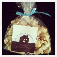 """Housewarming party favor.  Avery labels with free template. """"Thanks for 'popping' by!"""" Fill favor bag w gourmet popcorn and tie w ribbon! So cute and a big hit! :)"""
