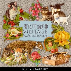 """Freebies Vintage Kit - """"Vintage Cats and Flowers"""".:Far Far Hill - Free database…"""
