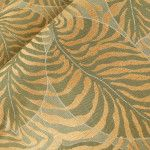 Dania Upholstery Fabric in Caribbean Green & Gold. This Italian floral leaf print is a hearty linen blend with an eye-catching print perfect for upholstery or pillows.
