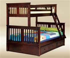 Good Trading TF3368-WA Walnut Twin Full Bunk Bed Kids Bedroom Furniture