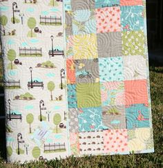 Gender Neutral Quilt Quilted Baby Blanket by SunnysideDesigns2