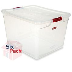 Rubbermaid Clever Store Tote Storage Container 30Quart Clear With Red Handles Pack of 6 >>> Read more reviews of the product by visiting the link on the image.