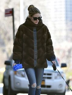 Olivia Palermo walking her dog out in New York - April 2016