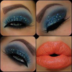 Sparkly eye shadow and peach lips