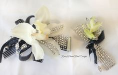 Rose of Sharon Floral Designs, Black and Silver  Orchid Corsage and Boutonniere