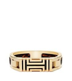 Shiny Brass/tory Tortoise Tory Burch Tory Burch For Fitbit Resin-inlay Hinged Bracelet