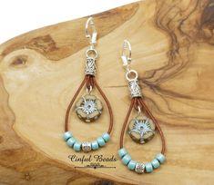 Turquoise Leather Earrings Hawaiian Flower Dangle Earrings | Etsy