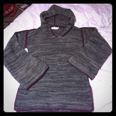 Cute long hooded sweater Super cute sweater has lost its belt along the way Cecily Sweaters Shrugs & Ponchos