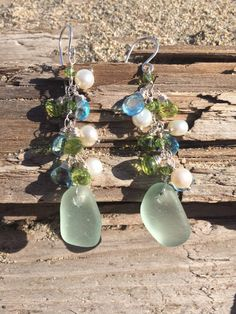 Genuine Sea Glass Earrings, Sea Glass Jewelry, Beach Glass Jewelry, Topaz Earrings, Coastal Jewelry, Beach Wedding by TideCharmers on Etsy