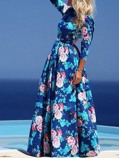 Shop Robe Longue Imprimée Floral Col Rond Manche 3/4 Taille Haute -Bleu from choies.com .Free shipping Worldwide.$15.99