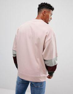ASOS   ASOS Oversized Sweatshirt With Velour Color Blocking Sleeve Panels