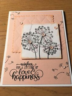 Stampin' Kat: Dandelion Wishes Wedding Cards Handmade, Handmade Birthday Cards, Handmade Cards, Best Wishes Card, Wedding Shower Cards, Dandelion Wish, Button Cards, Stampinup, Card Sentiments