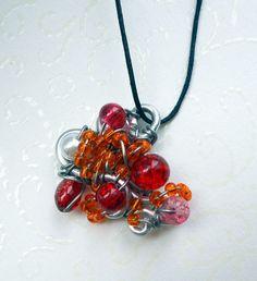 Orange roter Elfenreise-Kettenanhänger+Kordel/Unikat Fee Handarbeit Silber Glas