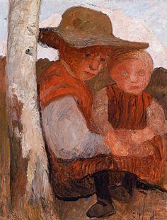 Paula Modersohn-Becker - Figurative Painting - German Expressionism - Sitting girl with straw hat and child in her lap - Sitzendes Mädchen mit Strohhut und Kind auf dem Schoß.