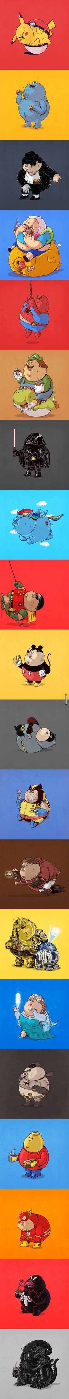 - X - Obesity Funny Art, The Funny, Funny Memes, Geek Culture, Pop Culture, Caricature, Pokemon, Funny Comics, Cartoon Art