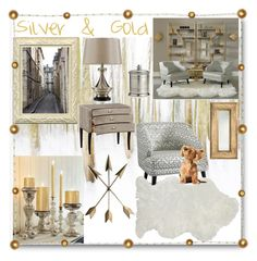 """""""Silver & Gold: Home Decor"""" by ann-kelley14 ❤ liked on Polyvore featuring interior, interiors, interior design, home, home decor, interior decorating, WALL, Arteriors, Jonathan Charles Fine Furniture and Arte Italica"""