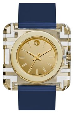 Tory Burch 'Izzie' Square Leather Strap Watch, 36mm available at #Nordstrom