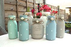 Vintage Shabby Chic Painted Mason Jars Milk Bottles Vase Farmhouse Home Decor in Home, Furniture & DIY, Home Decor, Bottles   eBay