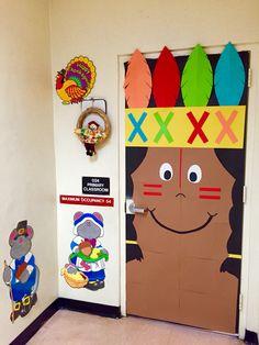 Thanksgiving Fall Indian kindergarten classroom door