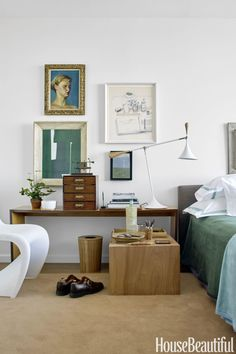 eclectic - warm wood, forest green and white modern chair, midcentury table lamp and console