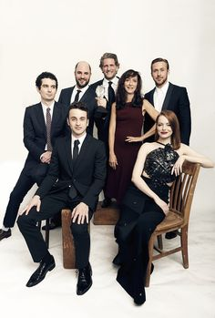 Winners of Best Picture for 'La La Land,' Damien Chazelle, Jordan Horowitz, Gary Gilbert, Mary Zophres, Ryan Gosling, Justin Hurwitz, and Emma Stone, pose for a portrait during the 2016 Critics Choice...
