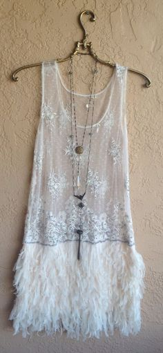Great Gatsby Bride Faux feather flapper dress