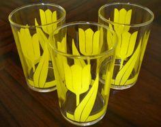 Vintage Yellow Tulip Juice Glasses Set of 3 by PickledFurniture, $10.00