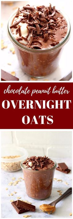 Chocolate Peanut Butter Overnight Oats Recipe - healthy breakfast idea made ahead of time! Only 5 ingredients needed to make this sweet and delicious oatmeal.