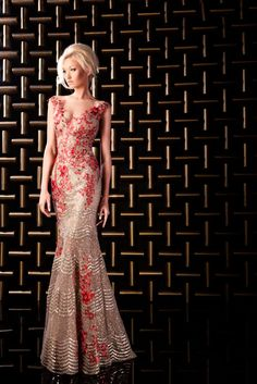 Red and White Evening Gown by HANNA TOUMA   Haute Couture