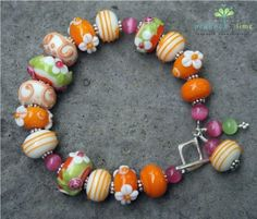 strawberry creamsicle bracelet by peacockandlime on Etsy, $58.00