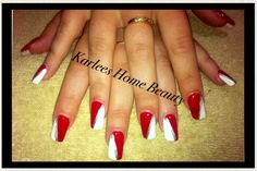 Clear tip acrylic with red,white and silver nail art.
