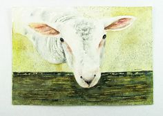 Shop for painting on Etsy, the place to express your creativity through the buying and selling of handmade and vintage goods. Arches, Online Art Gallery, Watercolor Paper, Agriculture, Watercolors, Sheep, Lamb, Cow, Original Paintings