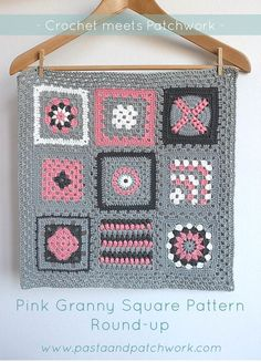 """""""Crochet meets Patchwork"""" Afghan - Pink Granny Square Pattern Round-up"""