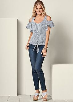 Order a sexy Flutter Sleeve Striped Top from VENUS. Shop short sleeve tops, tanks, tees, blouses and more at an affordable price today! Trendy Fashion, Fashion Outfits, Womens Fashion, Colored Skinny Jeans, Cold Shoulder Blouse, Flutter Sleeve, Navy And White, Ideias Fashion, Latest Trends