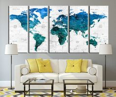 Push Pin Travel World Map Wall Art Canvas by ExtraLargeWallArt