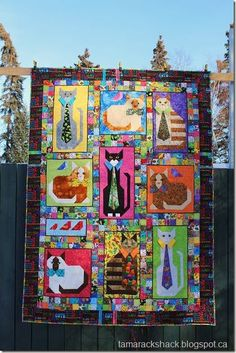 """cute! """"cats with collars"""" quilt on the tamarack shack blog"""