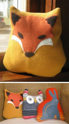 Animal pillow critters made from vintage sweaters
