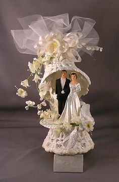 Vintage 1950's Ornate Wedding Cake Topper (eBay)