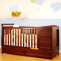 This is our baby's crib :). I just love how it has EVERYTHING in it lol. Since his clothes are so small, the drawers are space savers and so convenient for changes and stuff like that. I absolutely love it! :)