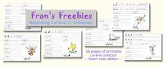 Free cursive handwriting sheets