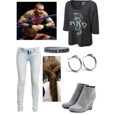 The attire that I (Scarlett) wear for Randy's 5 on 5 match. Cut the pants down to shorts, the shirt is a crop tank top and swap the shoes out Randy Orton, Cropped Tank Top, Crop Tank, Tank Tops, Wwe Outfits, School Outfits, Bae, Wwe Tna, Wwe Divas