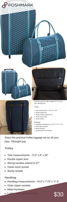NEW TEAL BLUE TWO PIECES TRAVEL LUGGAGE SET WITHIN TSA STANDARD CARRY ON SIZE. Bags Travel Bags