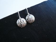 Fern Dome Earrings in Sterling Silver Simple Dainty by roundabout