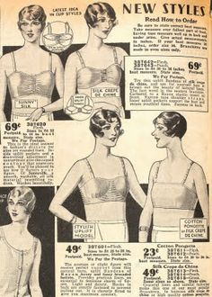 """In the late 20s the angular boyish silhouette softened slightly into """"slim yet rounded lines"""". By 1929 """"uplift model"""" brassieres were available, though still far outnumbered by minimiser bandeau styles. [sears 1929]"""