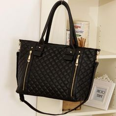 Black Faux Leather Quilted Zipper Detail Handbag