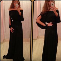 Off-Shoulder Slash Neck Long Dress