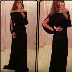 Sexy Off-shoulder Slash Neck Slit Sleeve Floor-length Dress [grxjy56002459]