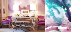 watercolor mural wallpaper wall covering purple green living room vignette